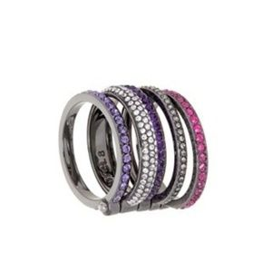 Henri Bendel Luxe Stack Rings- Pink Purple